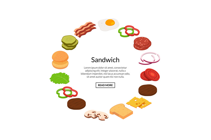 vector-isometric-burger-ingredients-illustration-color-flat