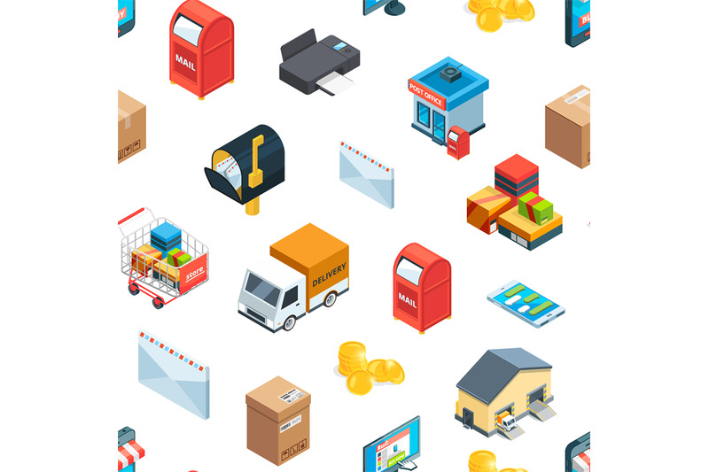 vector-isometric-logistics-and-delivery-icons-pattern-or-background-il