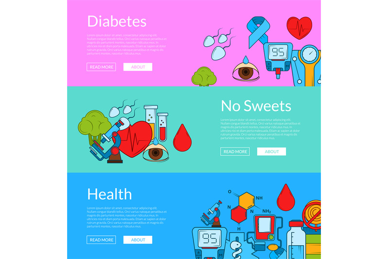 vector-colored-diabetes-icons-web-banner-templates-illustration