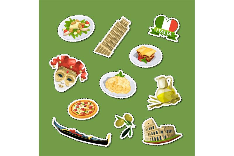 vector-cartoon-italian-cuisine-elements-stickers-set-illustration
