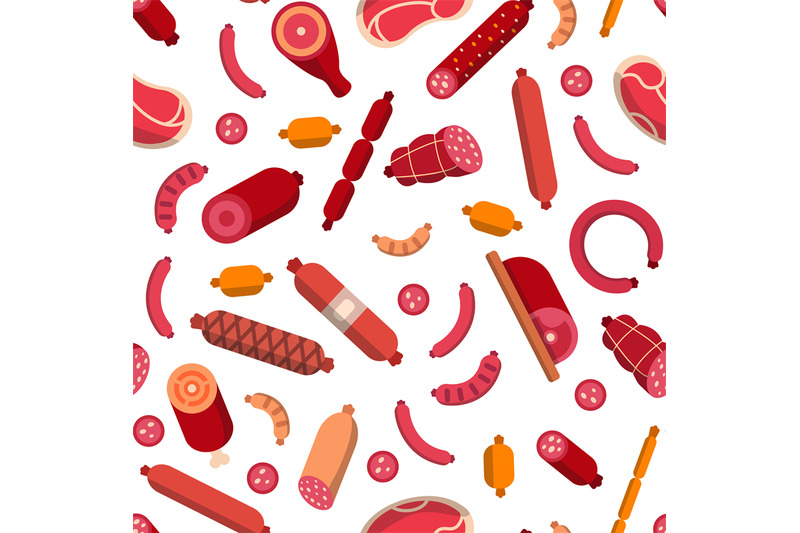 vector-flat-meat-and-sausages-icons-pattern-background-illustration