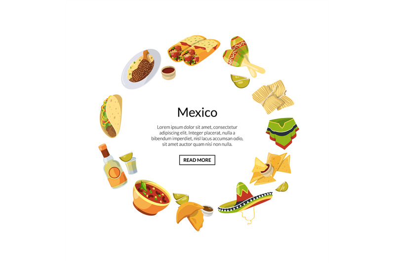vector-cartoon-mexican-food-in-circle-shape-with-place-for-text-illust