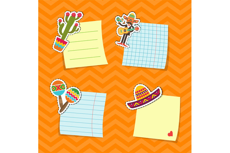 vector-flat-mexico-attributes-stickers-set-illustration
