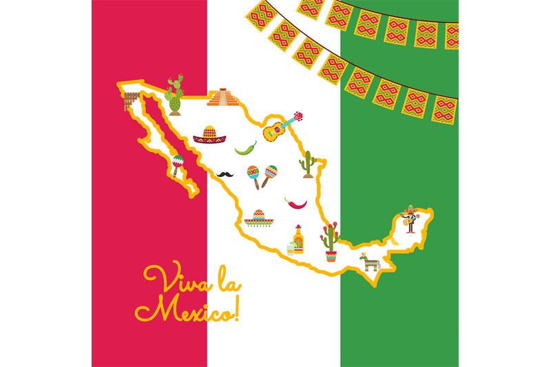 vector-flat-mexico-attributes-on-map-mexican-flag