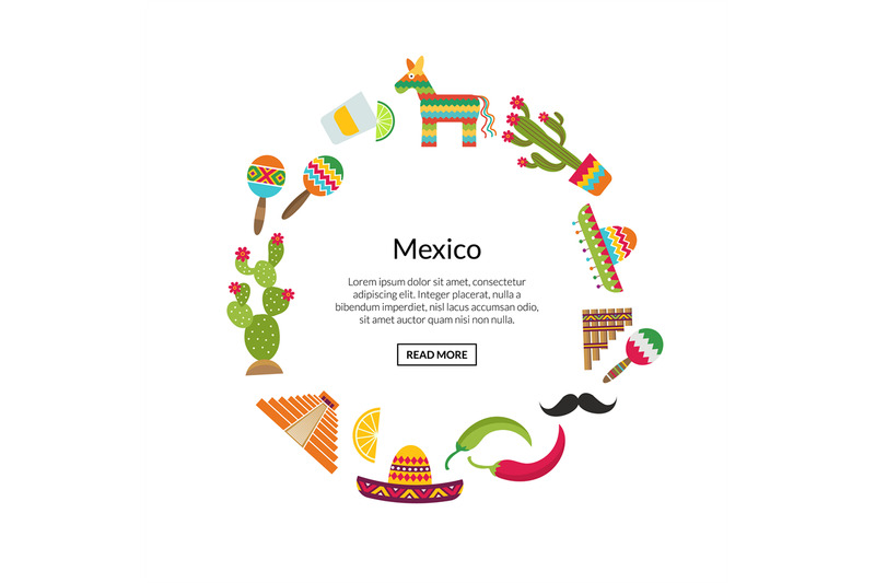 vector-flat-mexico-attributes-in-circle-shape