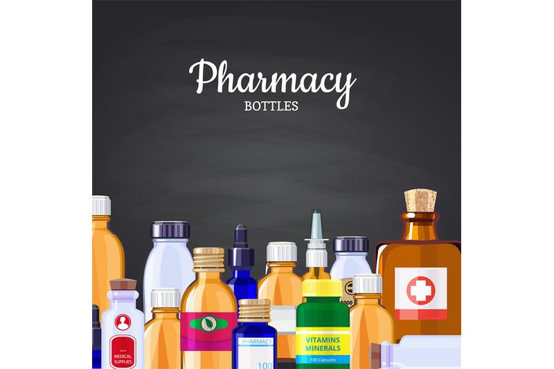 vector-pharmacy-medicine-bottles-background-on-black-chalkboard-illust