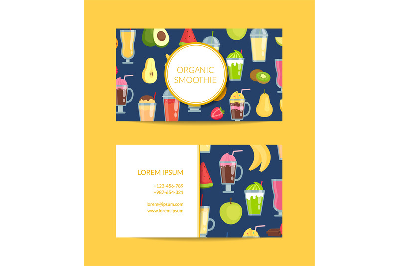 vector-flat-smoothie-elements-business-card-template-illustration