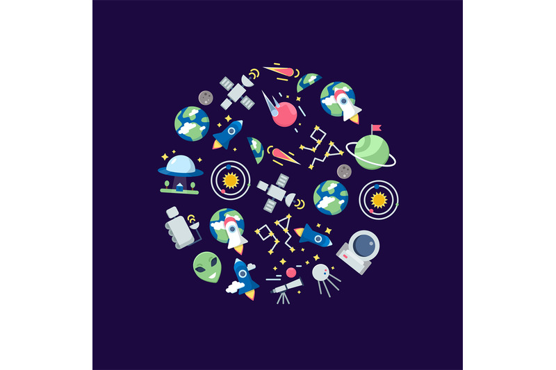 vector-flat-space-icons-in-circle-shape-illustration