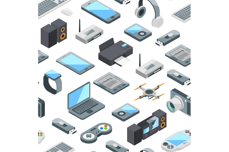 vector-isometric-gadgets-icons-pattern-or-background-illustration