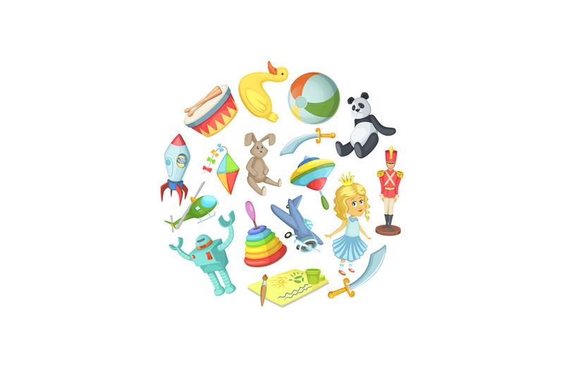 vector-cartoon-children-toys-in-circle-shape-illustration