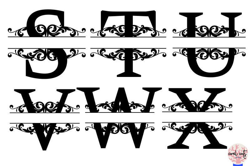 split-letters-monogram-a-to-z-svg-eps-dxf-png-file