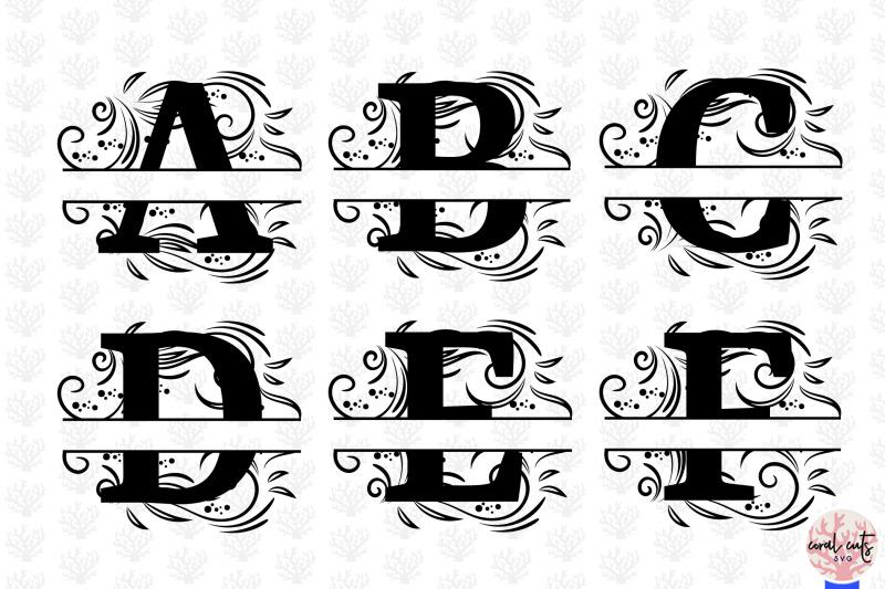 floral-split-alphabet-monogram-svg-eps-dxf-png-file