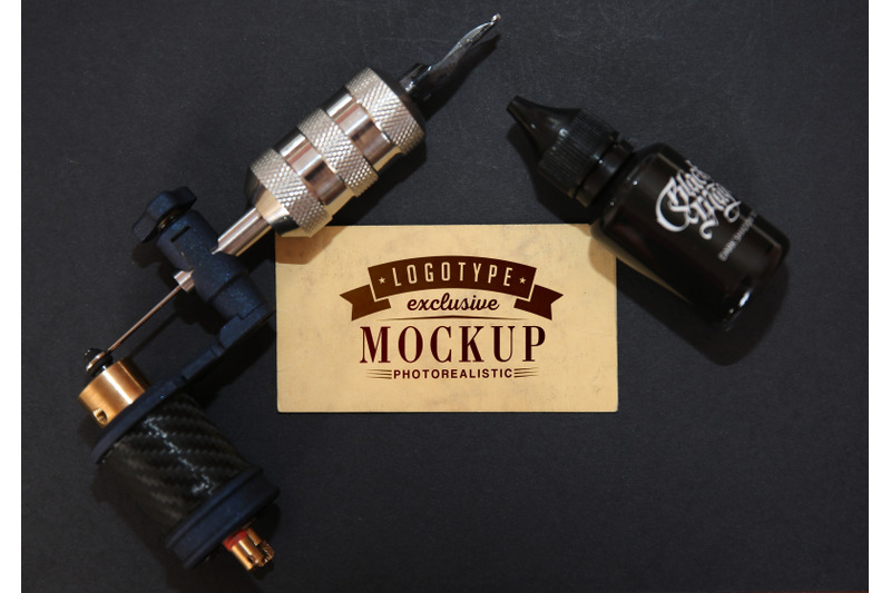 Free Photorealistic mock-ups with tattoo machine background (PSD Mockups)