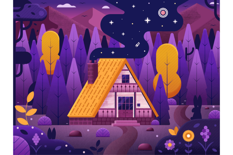 forest-chalet-house-by-night