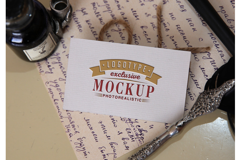 Download Photo Realistic Mock-ups Vintage style with vintage handwritten letter Free Mockups
