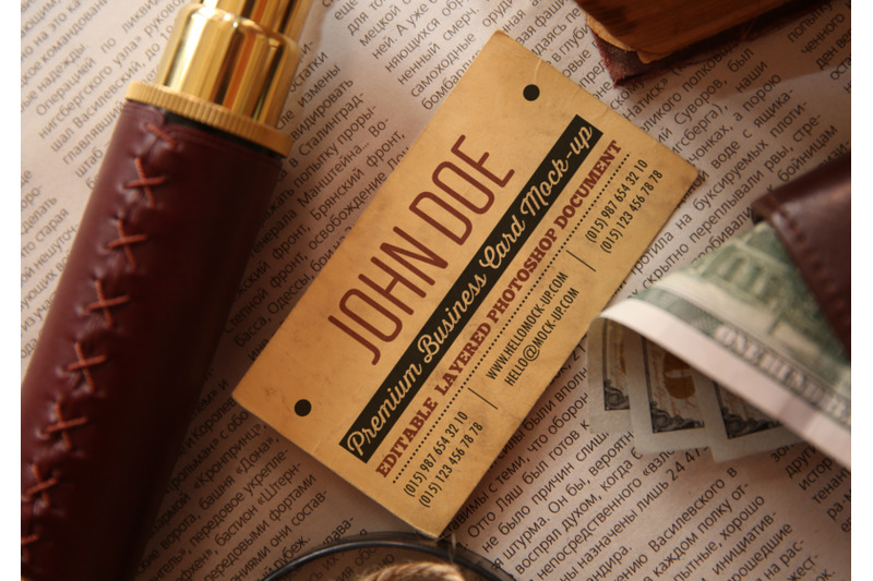 Free Business card template on vintage travel theme background (PSD Mockups)
