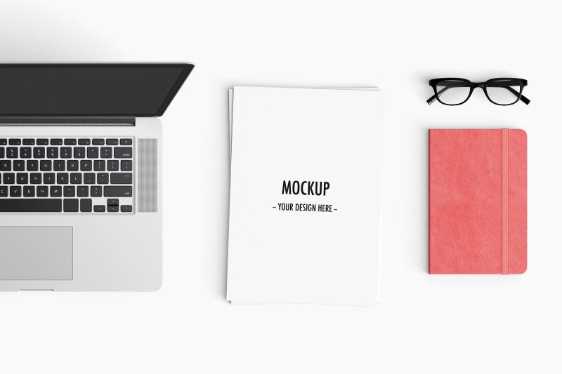 Free Modern workspace Mockup. Top view. (PSD Mockups)