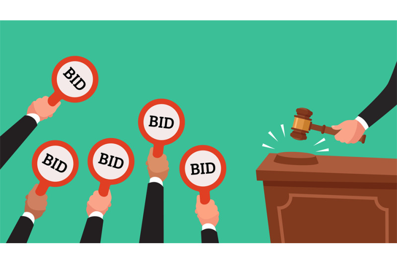 auctioneer-hold-gavel-in-hand-buyers-raising-arm-holding-bid-paddles