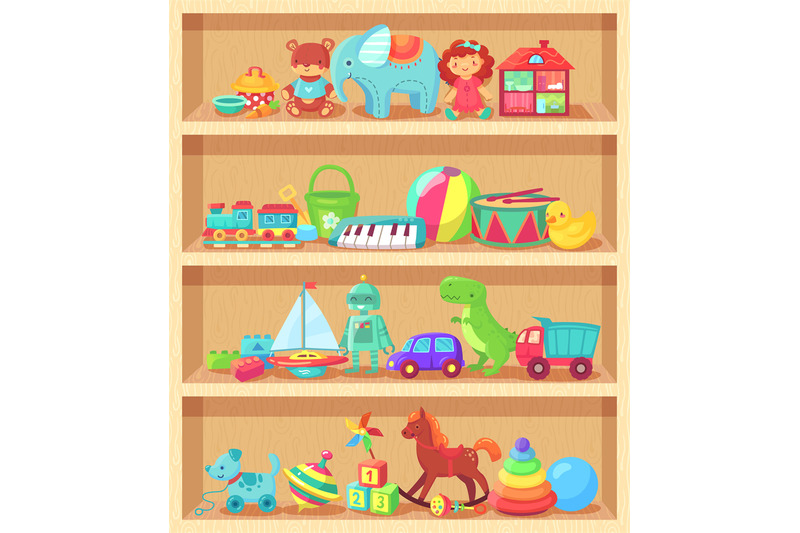 cartoon-toys-on-wood-shelves-funny-animal-baby-piano-girl-doll-and-pl