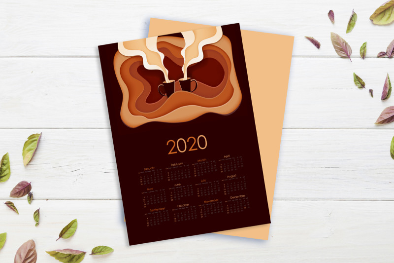 paper-cut-calendar-with-coffee-illustration-for-2020-year-2020-year