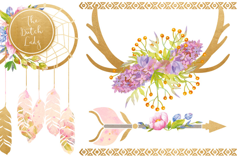 bohemian-dream-clipart-set
