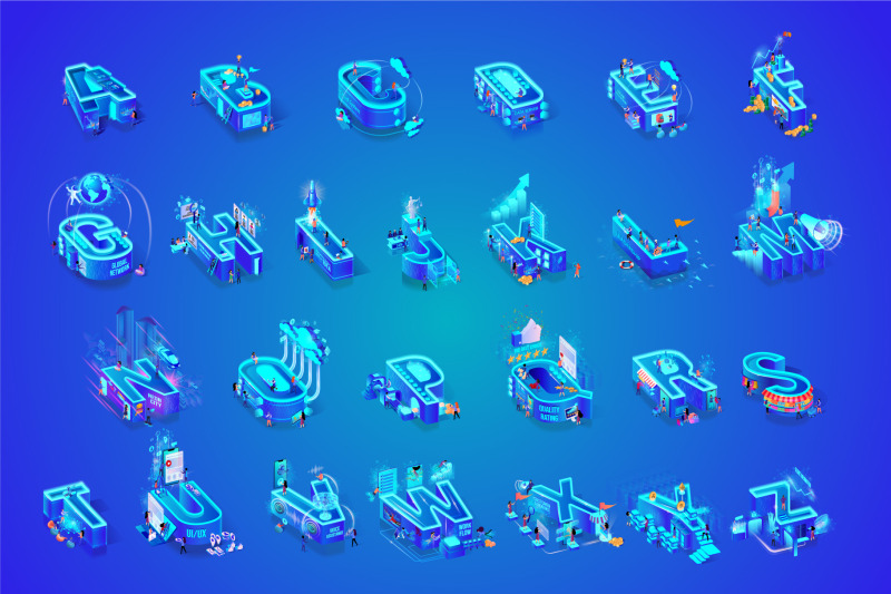 blue-alphabet-character-isometric