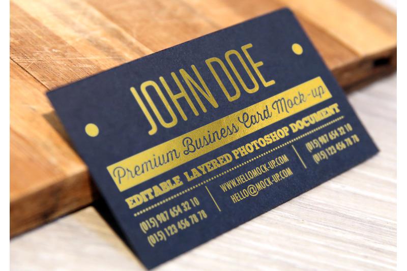 Free Business card template Gold Mock-ups (PSD Mockups)