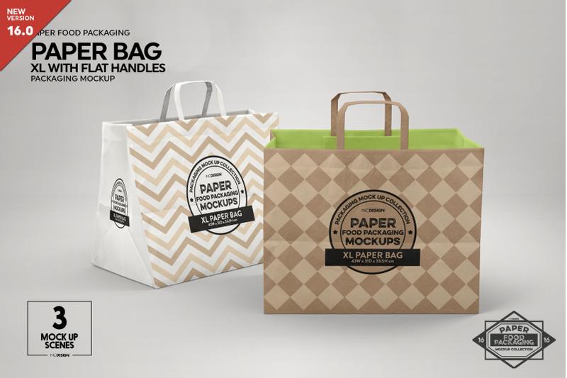 Free XL Paper Bags Flat Handles Mockup (PSD Mockups)