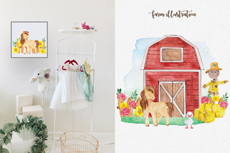cute-farm-watercolor-collection