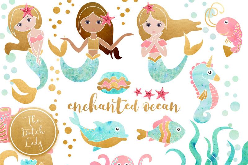enchanted-mermaid-ocean-clipart-set