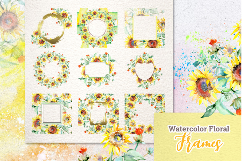watercolor-bouquets-with-sunflowers-png