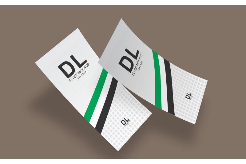 Free DL Flyer (Double) Mockup (3.93x8.26 Inch) (PSD Mockups)