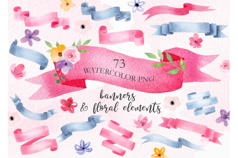 watercolor-banners-clipart-set