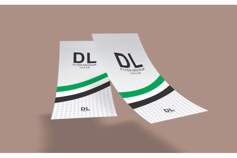 Free DL Flyer Mockup (Double Sided) (PSD Mockups)