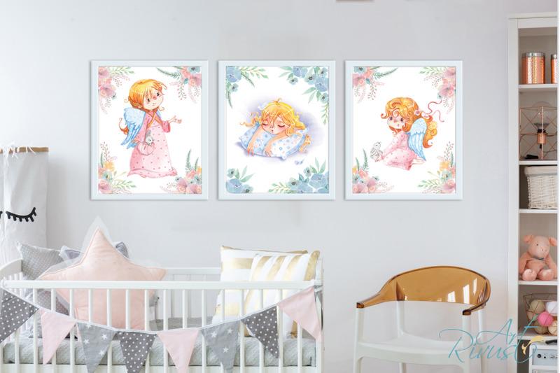 cute-angel-girl-digital-nursery-prints-nursery-wall-art-baby-girl