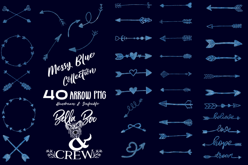messy-blue-arrow-collection