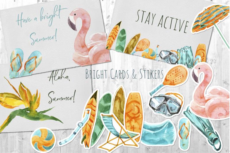 beach-activities-watercolor-collage
