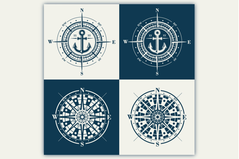 compass-roses-windroses-vector-set