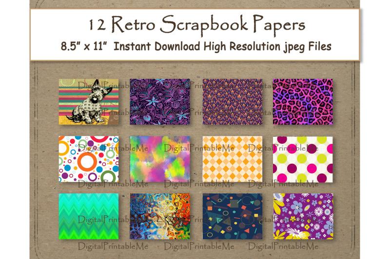retro-digital-paper-11-quot-x-8-5-quot-patterns-colorful-pop-art-stripes-animal