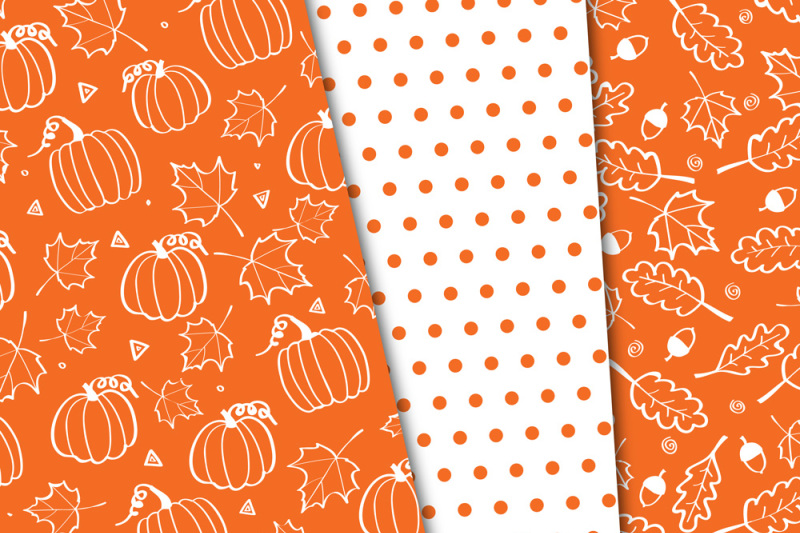 pumpkin-orange-black-and-white-fall-digital-papers-autumn-background-patterns