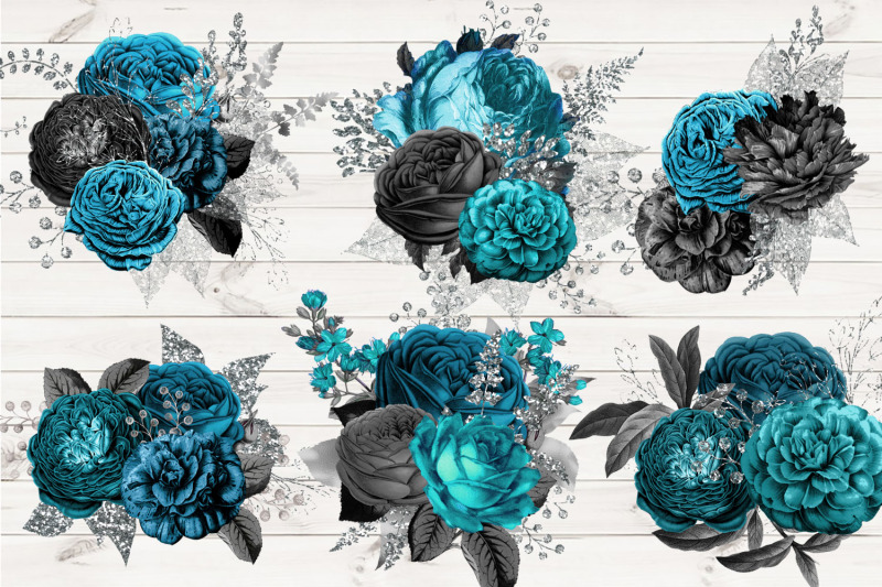 turquoise-black-and-silver-floral-bouquets
