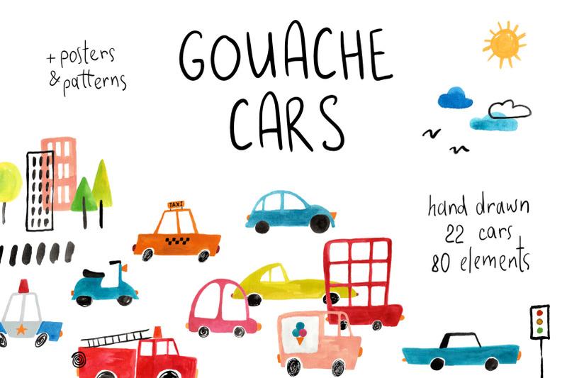 gouache-cars