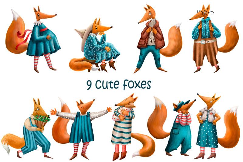 cute-fox-family-clip-art-set
