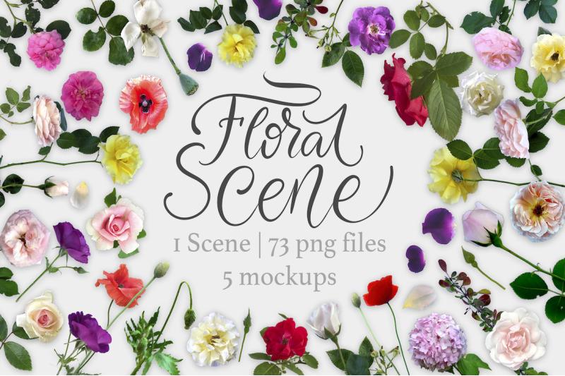 Free Floral Scene Creator + 5 Mock Ups. (PSD Mockups)