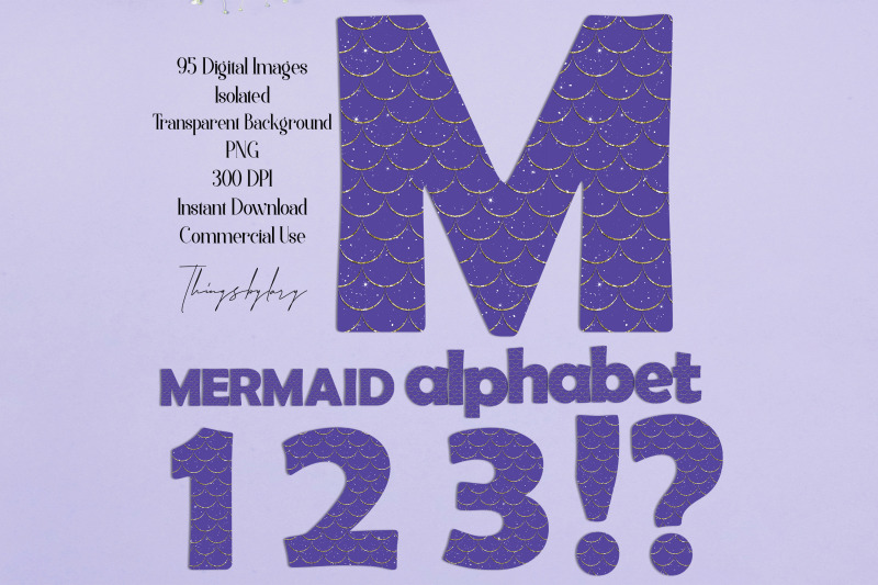 95-purple-mermaid-scale-gold-glitter-alphabet-number-not-a-font