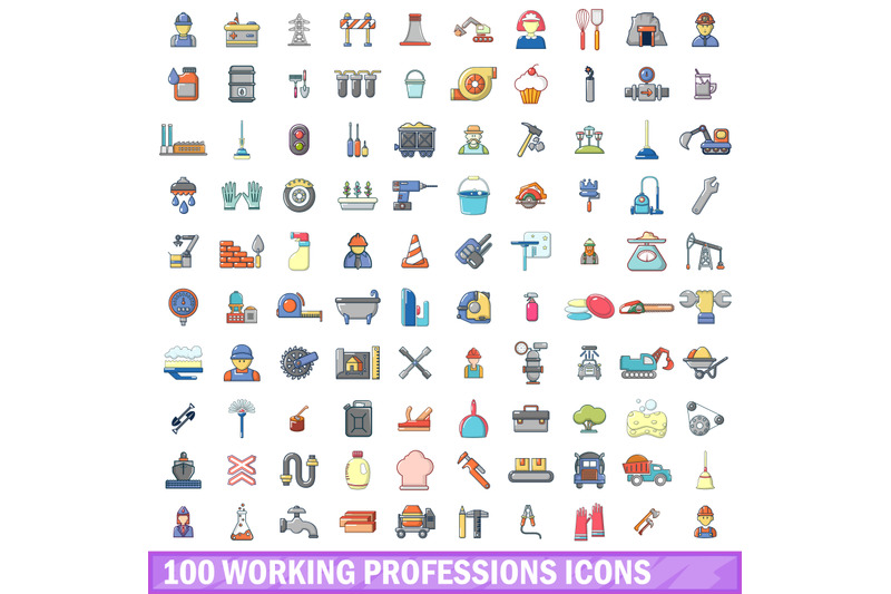 100-working-professions-icons-set-cartoon-style