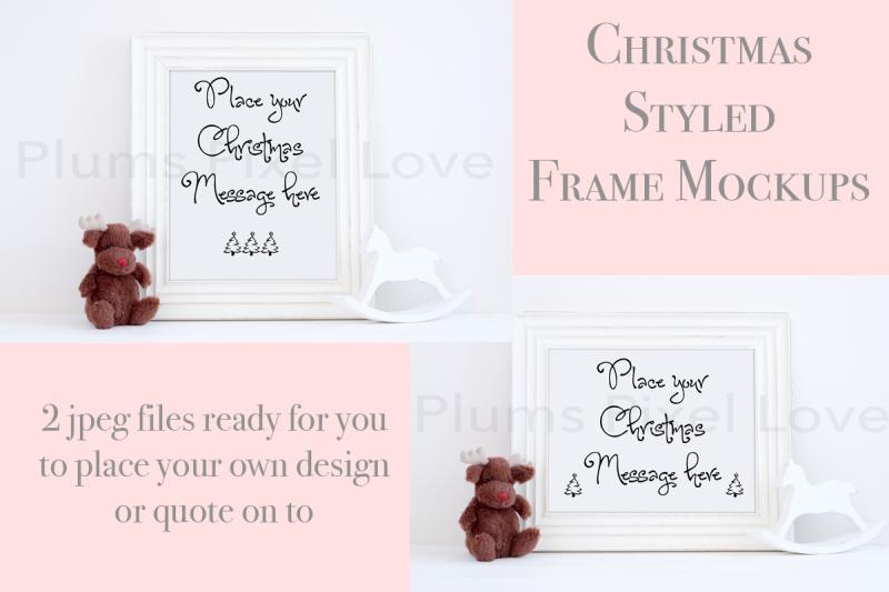 Free 2 Christmas styled frame mockups (PSD Mockups)