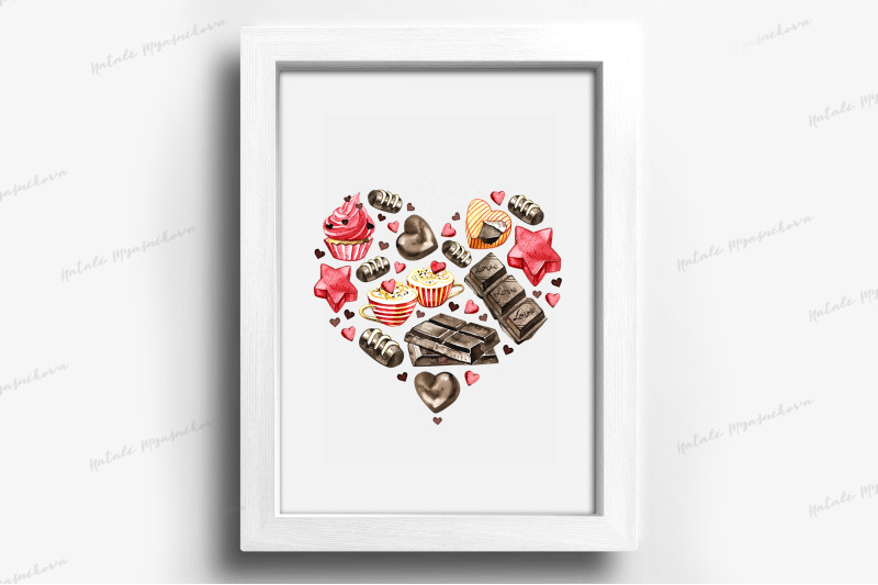 watercolor-chocolate-heart