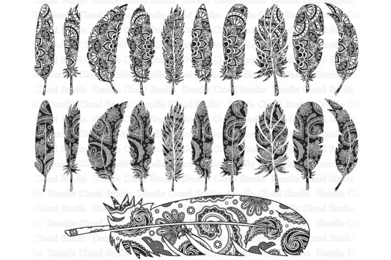 feather-mandala-svg-feather-zentangle-svg