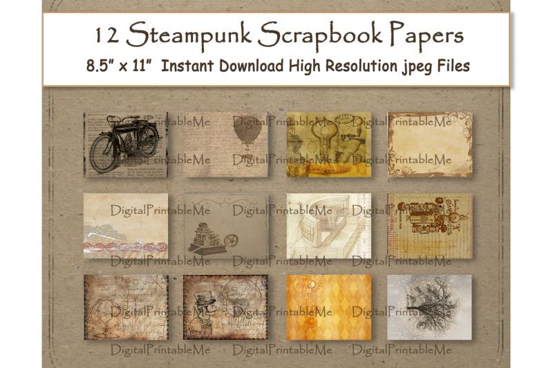 steampunk-digital-paper-11-quot-x-8-5-quot-antique-scrapbook-paper-pages-12-pr